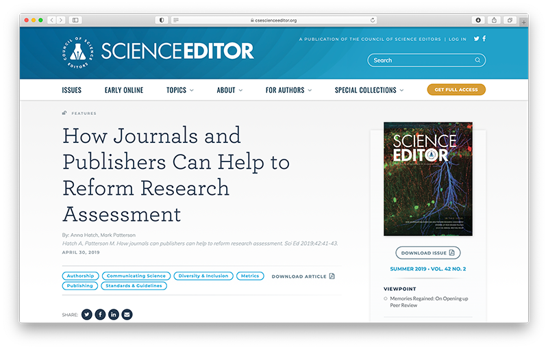 How Journals And Publishers Can Help To Reform Research Assessment Dora It is difficult to determine e.g. reform research assessment dora